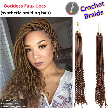 """Synthetic ombre Braiding 20"""" 24strands/pack Ombre Color Kanekalon Synthetic Hair Goddess Faux Locs Curly Crochet Hair Braids for black women"""