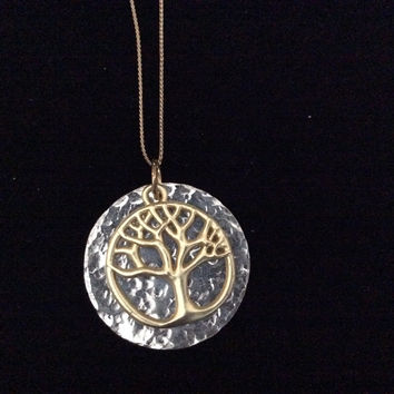 Gold Tree of Life on Hand stamped Silver Charm Pendant Necklace Handmade