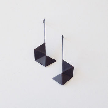 Oxidized Black Hexagon Geometric Earrings