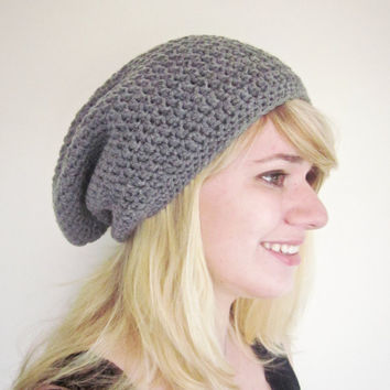 Crochet Slouchy Beanie The Derby Square Hat in Charcoal
