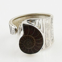 Ammonite Textured Sterling Silver Adjustable Ring