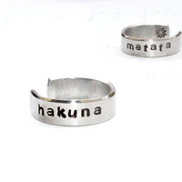 Hakuna Matata Ring, Stamped Aluminum cuff Ring, Inspired Ring, Gift Jewelry