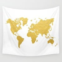World Map Polyester Tapestry Map of USA Colorful Wall Decoration Multi-purpose Bohemian Map