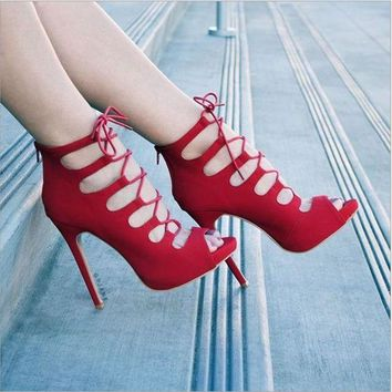 Fashion Summer Lace Up Type Hollow Open Toed High Tops Knot High-Heeled Sandals