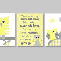 Owl Nursery Art, Complements Zig Zag Yellow and Gray Nursery Bedding, Grey and Yellow, Grey Chevron, Gender Neutral, You are my sunshine