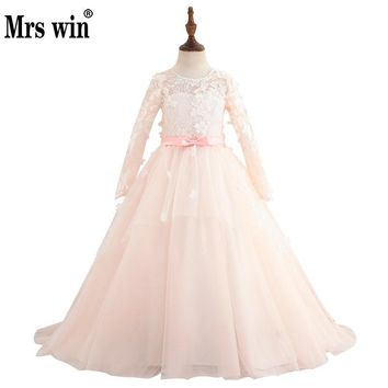 New Flower Girl Dresses Elegant Long Sleeve Luxury Lace Applique Bright Line Embroidery Ball Gown Robe De Bal Fille X