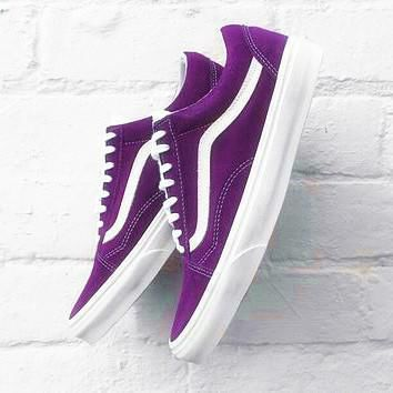 VANS Old Skool Vintage Casual Sports Sneakers Shoes purple H-CSXY
