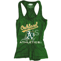 Oakland Athletics Majestic Threads Women's Contrast Racerback Crest Tri-Blend Tank Top – Green