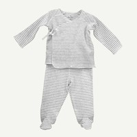 Heather Gray Stripe 2-Piece Footed Set