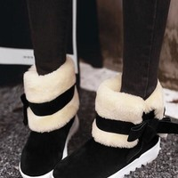 New Black Round Toe Bow Fashion Ankle Boots