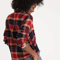 AEO Ahh-Mazingly Soft Plaid Boyfriend Shirt, Brown