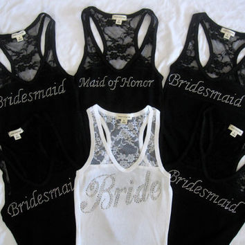 6 Wedding Bridal Party Lace Tank Top. Bride, Bridesmaid, Maid of Honor. Small - Large. Black, White, Purple, Pink.