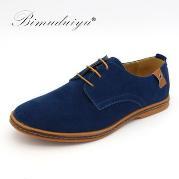 BIMUDUIYU Brand Minimalist Design Genuine Suede Leather Men Casual Shoes Hot Sale Flat British Style Oxford Shoes Big Size 38-48