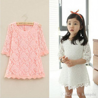 2015 New Summer high quality kids popular lace dress 7 minutes of sleeve Hollow out dress children dress