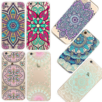 Clear Pattern Phone Cases for iPhone 6 6S 5 5s SE Soft Silicon Vintage Black Cover Datura Paisley Flower Mandala Case Capa