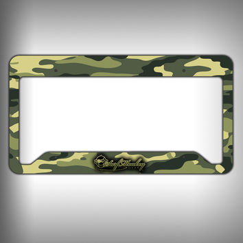 Green Camo Custom Licence Plate Frame Holder Personalized Car Accessories
