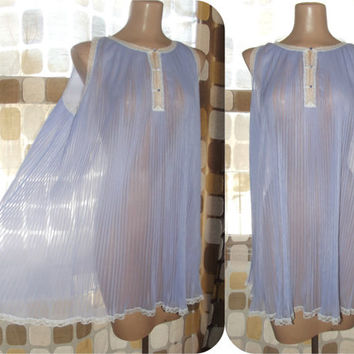 Vintage 60s Vanity Fair Sheer Lavender Babydoll Nightgown M/L Shorty Nighty Full Accordion Pleats
