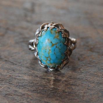 Vintage West Germany Ring Faux Turquoise Glass Oval Cabochon Silver Tone Adjustable One Size Fits Most 1950's // Vintage Costume Jewelry