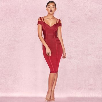 V-Neck Short Sleeve Spaghetti Strap Backless Zipper Cocktail Gowns Knee Length Party Formal Dress