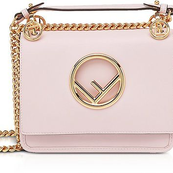 Fendi Kan I F Small Peonia Pink Leather Shoulder Bag