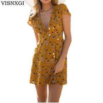 VISNXGI Casual Beach Printing Dress Yellow Women Summer Dresses V Neck A Line Cotton Bohemian Mini Dress Short Sleeves Vestidos