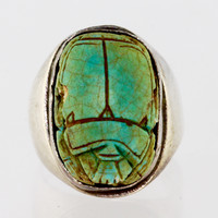 Sterling Silver Signet Ring Antique Scarab Beetle