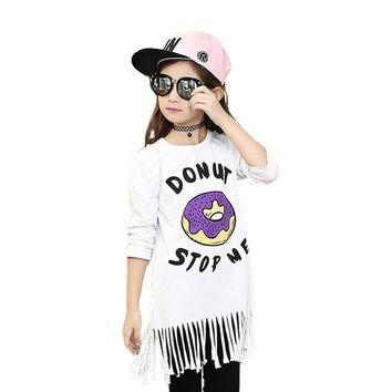 Tribros 2017 Children Clothing Tassel Girl T Shirts White T Shirt Girls Donuts Printed Shirts Long Sleeve O-Neck Tees Tops