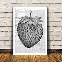 Kitchen decor Strawberry poster Retro print Antique art RTA113