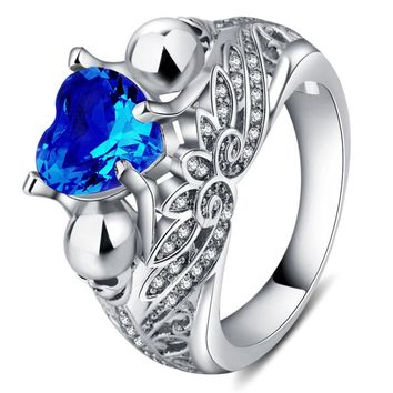 Creative Skull Ring for Women Blue Heart Gem AAA Zircon Skeleton Finger Ring European Punk Style Jewelry Gifts US Size 6-10