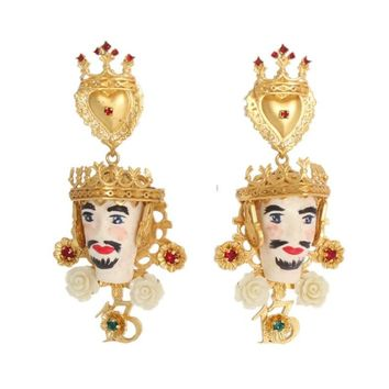 Dolce & Gabbana Gold Crystal Roses Heart PUPI Sicily Clip On Earrings