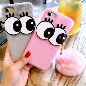 For iPhone 8 7 6 6s 7Plus 8Plus 6Plus Furry Hard PC Cover Housing Cute Big Eyes DIY 5 Colors Fur Pompom Ball Plush Phone Case