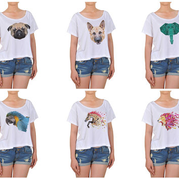 Women Animals in geometric pattern style Printed Cotton Croptop WTS_08