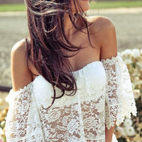 Lace Blouse Off Shoulder Elegant Casual Shirt Sexy