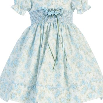 Light Blue Floral Print Cotton Girls Easter Dress w. a Smocked Waist 3M-24M