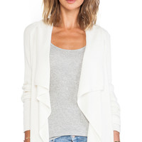 Michael Stars Drape Front Cardigan in Ivory