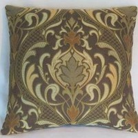 Brown and Orange Brocade Pillow Cover, Art Nouveau, Mission Style Decor