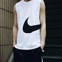 NIKE New Fashion Men Sports Vest Top Sleeveless Shirt Four White
