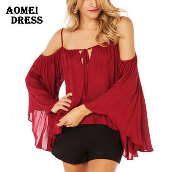 Red Plus size Loose Tie-Front Shirts Blouse Woman Fashion Sexy Summer Style Women Tops Ladies Tops Shirt Ruffles chiffon blouses