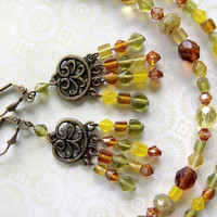 Bohemian Necklace and Chandelier Earrings - boho chic yellow green brown earthy jewelry
