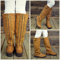 Easy Rider Tan Studded Zipper Riding Boots-OUT OF BOX