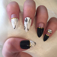 Black and gold marble stiletto false nails