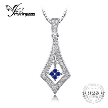 JewelryPalace Vintage 0.4ct Created Blue Sapphire Necklaces Pendants Charms 925 Sterling Silver 45cm Box Chain For Women Jewelry