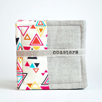 fabric coasters // washi cotton and linen // set of 4