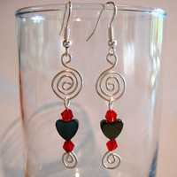 "Pierced Heart Spiral Earrings Hematite ""Endless Love"""