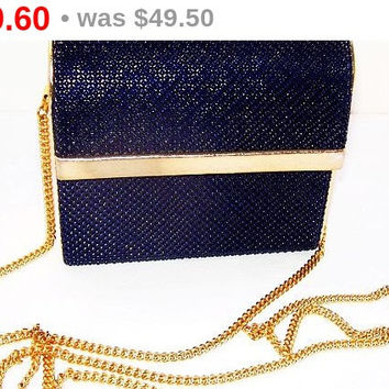 Whiting & Davis Box Purse Navy Blue Mesh Gold Metal Chain Vintage 1950s-60s