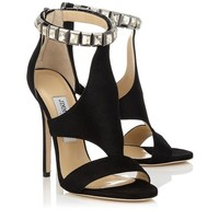 Black Shimmer Suede Sandals with Crystals | Halo | Pre Fall 14 | JIMMY CHOO Sandals