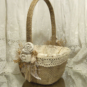 Burlap Flower Girl Basket. Ready to Ship!
