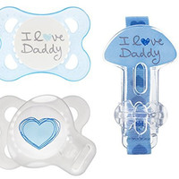 MAM Love & Affection Orthodontic Pacifier with Clip Value Pack, I Love Daddy, Boy, 0-6 Months, 2-Count