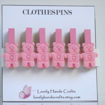 Mini Wood Clothes Pin, Baby Shower Favors, Pink Bear