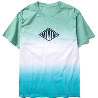 Green  Dip Dye  And Letter Printed T-shirt